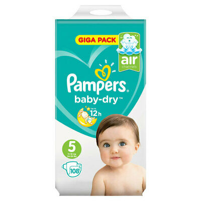 Baby Dry Size 5 (Junior) 11-25kg Giga Pack (108 Nappies)