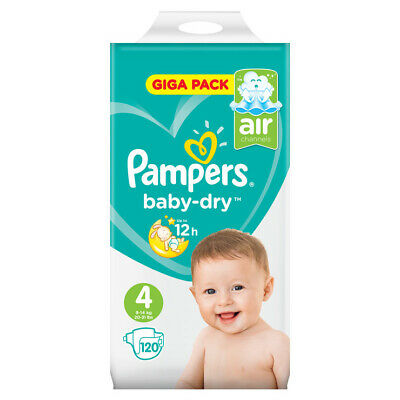 Baby Dry Size 4 Maxi 7-18kg Giga Pack (120 Nappies)