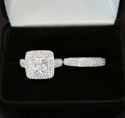 3CT Princess Cut ENGAGEMENT RING + WEDDING Band REAL SILVER 925 White Gold Look