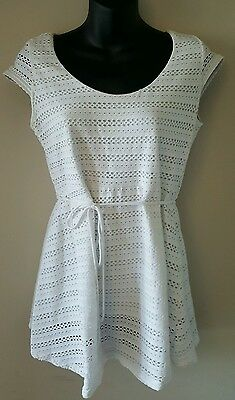 Motherhood Maternity Pregnancy cap sleeve Blouse White top Size Small