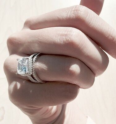 Sterling Silver Engagement Wedding Eternity Band CZ Cubic Zirconia 3 Ring Set