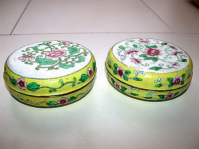 Beautiful Antique Chinese Canton Famille Rose Enameled Round Lided Box Pair
