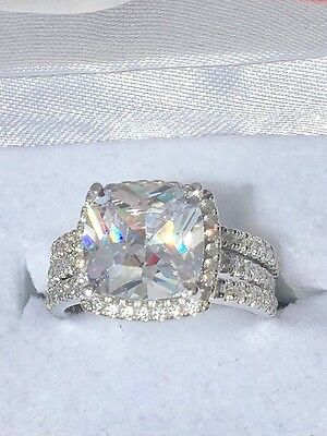 Cushion Cut Lab Diamond Engagement Bridal 3 Ring Set 925 Silver Sparkling !