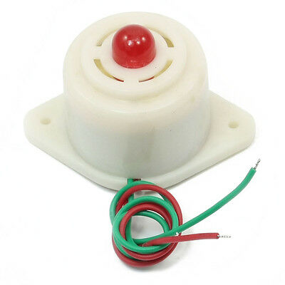 DC 12V 2 Wire Industrial Red LED Flashing Alarm Buzzer 100dB BJ-3 LW
