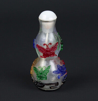 China 20. Jh. A Chinese Double Gourd Overlay Glass Snuff Bottle - Chinois Cinese