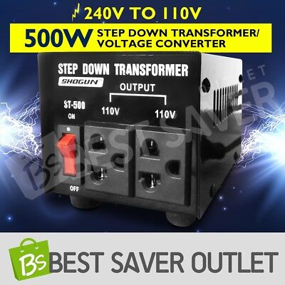Step Down Transformer & Voltage Converter With Output 2 Plugs 500W