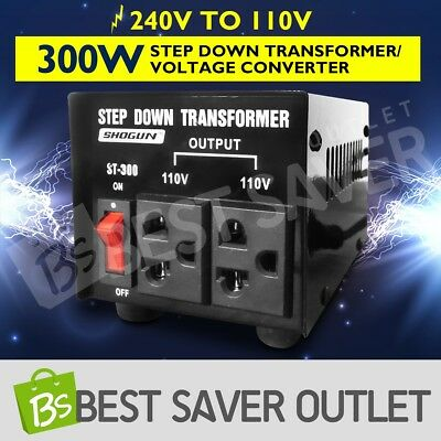Step Down Transformer & Voltage Converter With Output 2 Plugs 300W