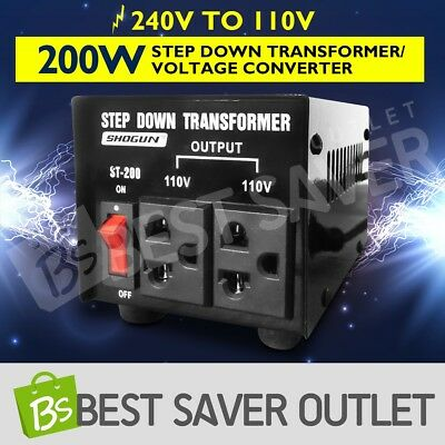 Step Down Transformer & Voltage Converter With Output 2 Plugs 200W
