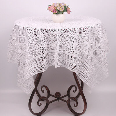 White / Beige Handmade Cotton Crochet Table Cloth Christmas Holiday Table Cover