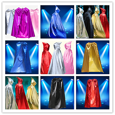 Halloween Kids Adults Vampire Witch Hooded Robe Long Cape Cloak Wedding Party