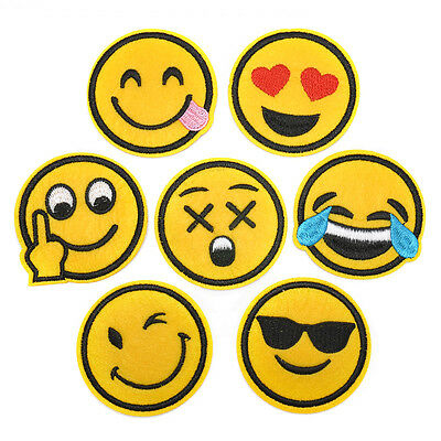 New 7pcs/set Emoji Expression Embroidered Cloth Iron On Patch Motif Applique