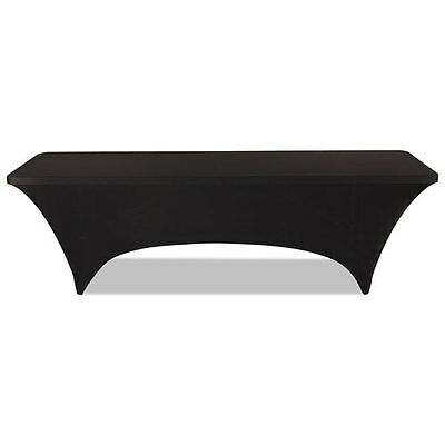 "Iceberg Stretch-Fabric Table Cover, Polyester/Spandex, 30"" x 96"", Black"