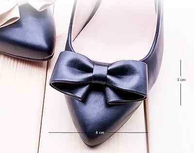 Fashion Black Off White Nude Red Blue Synthetic Leather Bow Shoe Clips Pair
