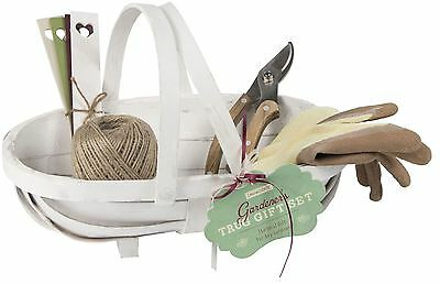 Wooden Trug Gift Set with Garden Tools and Gardening Gloves