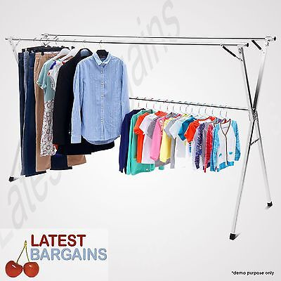 Stainless Steel Airer Clothes Horse Garment Rack Laundry Drying Hanger Foldable