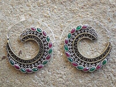 Brass and silver plated brass ethnic earrings ruby green stone cabochons