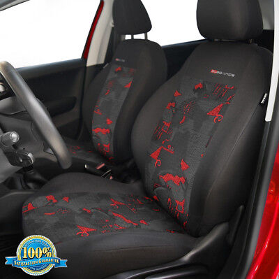 2 X CAR SEAT COVERS pair for front seats fit Vauxhall Astra charcoal/red