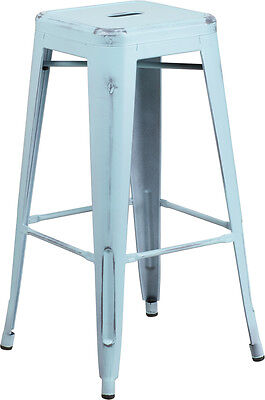 Flash Furniture 30'' High Backless Distressed Dream Blue Metal Indoor Barstool