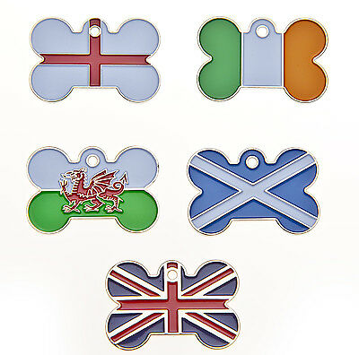 Engraved Pet ID Tags Country FLAG Bone Shaped Dog, Puppy Engraved