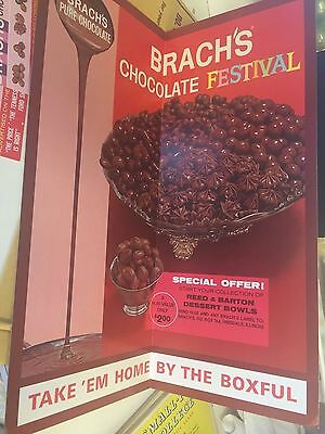 Vtg Brachs Chocolate Festival Candy Store Advertising Sign Nos Reed Barton Bowl