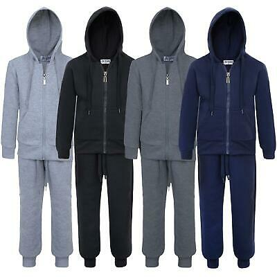 Kids Teen Plain Tracksuit Hooded Zip Top Jogging Bottoms 2-Piece Set 5-16 Years