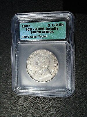 1897 South Africa 2 1/2 Shillings, ICG AU 58 Details - Collar Tooled