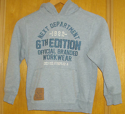 Next ~ Boys Pullover Style Hoody/hoodie In Grey/blue With Motif ~ Size 8 Years