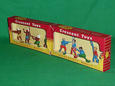 crescent plastic toy soldiers 54mm x 8 boxed 584 cowboy & indian 1st issue