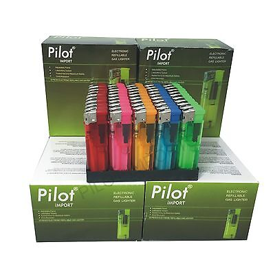 50 Electronic Lighters Refillable With Adjustable Flame In Five Colours Pilot!!!