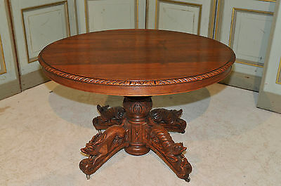 Antique French Hunt Table 4 Hand Carved Animals 19th Century Large Dining Area