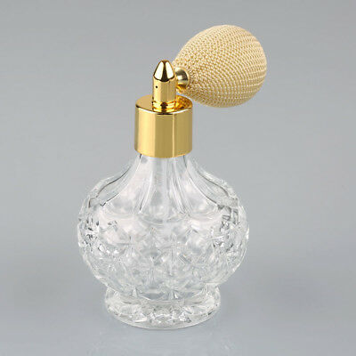 Clear Vintage Crystal Perfume Bottle Short Spray Atomizer Refillable Glass 80ml