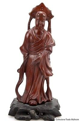 China 20.Jh. Holzfigur- A Chinese Carved Wood Figure of a Scholar Chinois Cinese