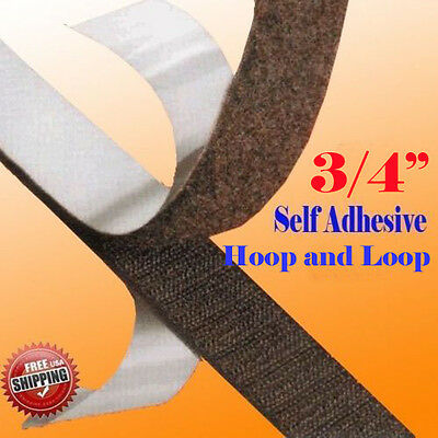 "3/4"" x 5 Yards 15 FT Black Self Adhesive Hook and Loop 20mm Stick On Tape Fabric"