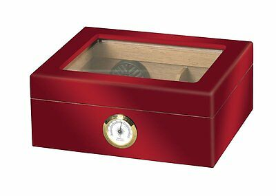 Quality Importers - Red Glasstop Cigar Humidor - 25CT - HUM-25HYG-RD