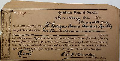 1864 Confederate States Bond June $200 Dollars Lynchburg Virginia Hand Signed