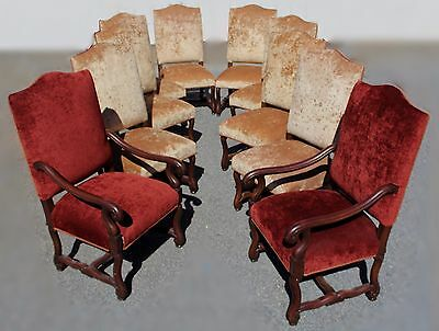 Set of Ten Antique French Louis XVI Chairs in Gold & Red Velvet, Restored