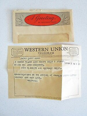 Western Union Telegram 1959 James Endincott Glendale CA Charlie Brown Vintage