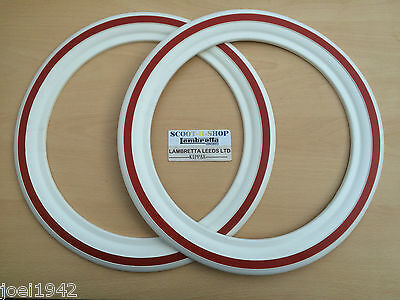 Lambretta & Vespa White Wall Tyre Inserts & Red Stripe. 10 Inch Size Tyres