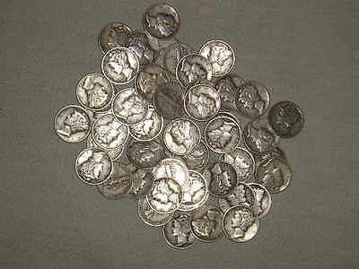 1+oz (12) MERCURY Winged Liberty Head 90% Pure Silver DIMES! Mostly 40's Dates