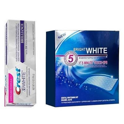 28 x BRIGHT WHITE TEETH WHITENING STRIPS & CREST3D TEETH WHITENING TOOTHPASTE