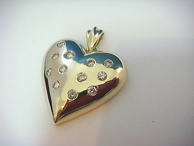 Exquisite, 14K Two-Tone Gold Heart Pendant With Diamonds 10.3 Gr, 0.75 Ct T.w.