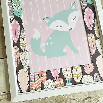 Girl Woodland Nursery Decor, Pink Fox Nursery Print, Girl Fox Nursery Decor
