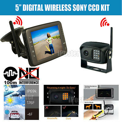 "2.4GHz HD Wireless 5"" Monitor CCD Camera Reverse Rear View Car Truck Kit IR"