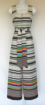 VINTAGE 1960s 70s MOD SAKS FIFTH AVENUE JUMPSUIT POLY RAINBOW STRIPES BELT