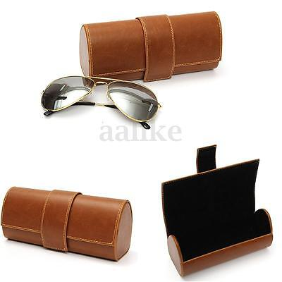 Fashion PU Leather Sunglasses Eye Glasses Storage Box Clam Shell Hard Case
