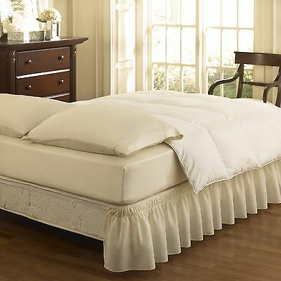Easy Fit Ruffled Solid Bed Skirt Queen/King Ivory