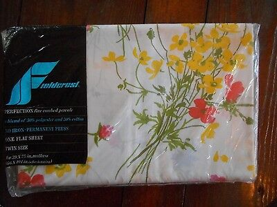 "NEW VINTAGE Fieldcrest Perfection PERCALE White Floral Flat TWIN SHEET 39"" X 75"""