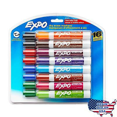 Expo 81045 Low-Odor Dry Erase Markers, Chisel Tip, 16-Pack, Assorted, New