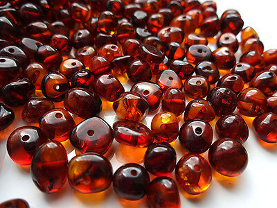 NATURAL ROUND BALTIC AMBER HOLED LOOSE BEADS 10gr.(ABOUT 75-85pcs)