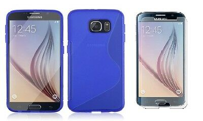 Blue S-Line Tpu Case+Tempered Glass Protector For Verizon Samsung Galaxy S6